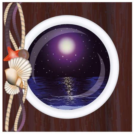 Beautiful night ocean in porthole, vector illustration Vector