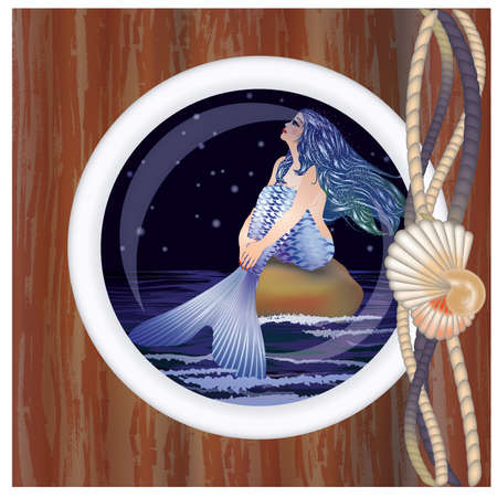 ship porthole: Beautiful night mermaid in porthole Illustration