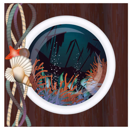 Sunken ship in porthole,  illustration Vector