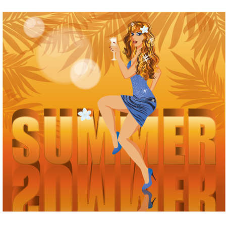 Summer time card with beautiful sexy woman illustration Vector