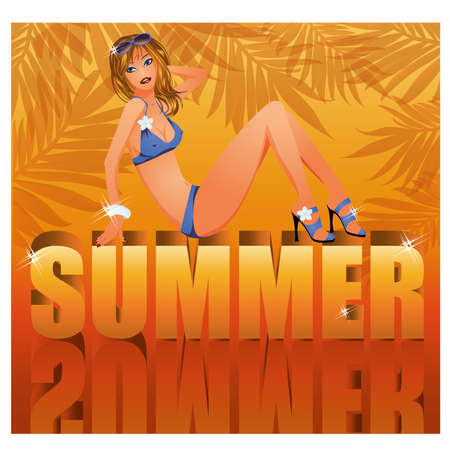 sexy party girl: Summer time card with sexy girl in bikini illustration