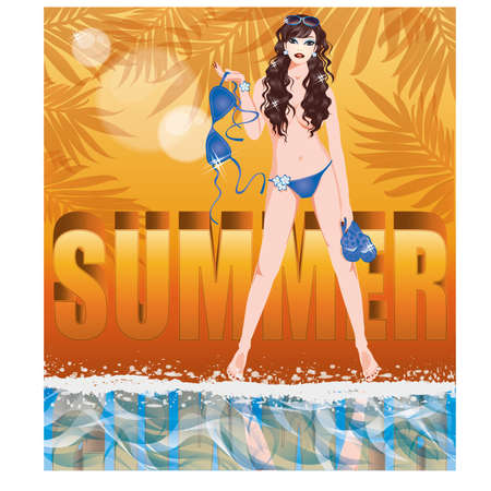 topless women: Summer time card with sexy girl in topless, vector illustration