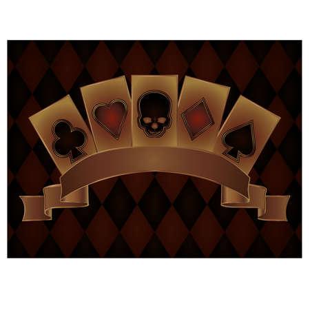jeu de carte: carte postale de Casino avec des crânes cartes de poker, illustration vectorielle