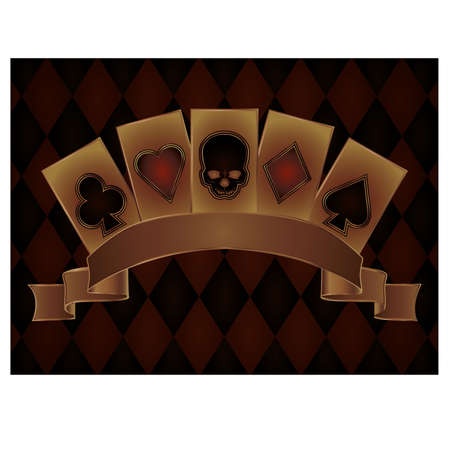 card game: Casino postcard with poker skulls cards, vector illustration Illustration