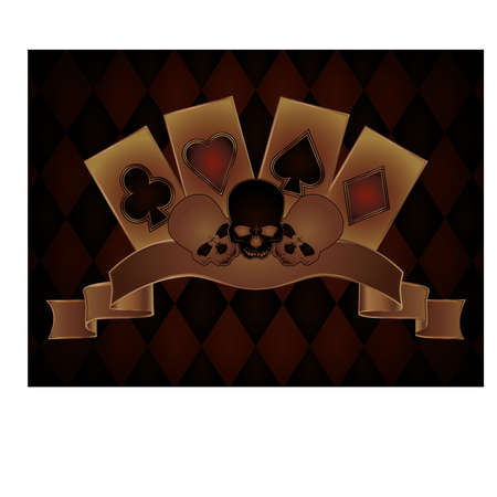 Casino background with skulls and poker cards, vector illustration Vector