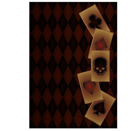 Bandera Casino Vintage con cartas de póquer, ilustración vectorial Ilustración de vector