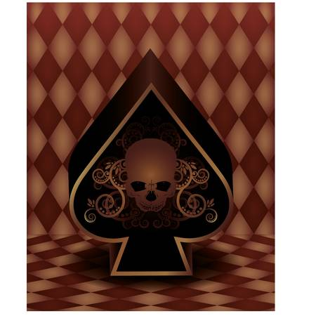 Vintage spades poker card, vector illustration Vector