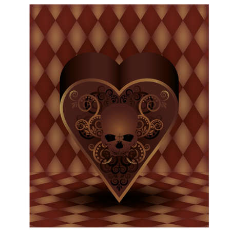 entertainment risk: Vintage hearts poker card, vector illustration Illustration