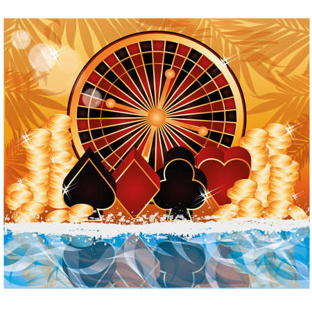 Summer poker time card, vector illustration Stock Vector - 19612697