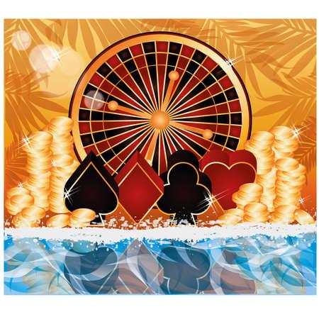 Summer poker time card, vector illustration Stock Vector - 19612697