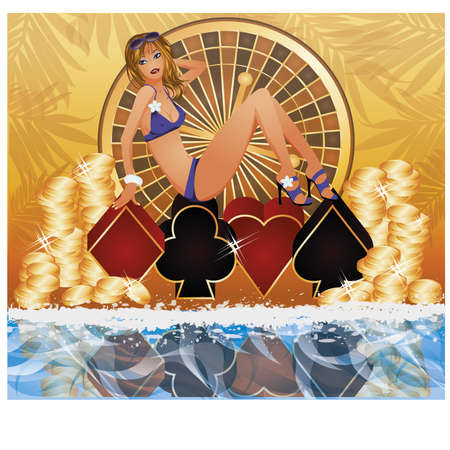sexual pleasure: Summer poker time background vector illustration