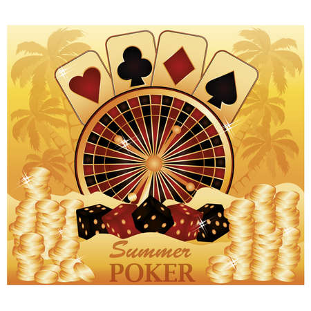 Summer poker time  Casino card  vector illustration Stock Vector - 19612231