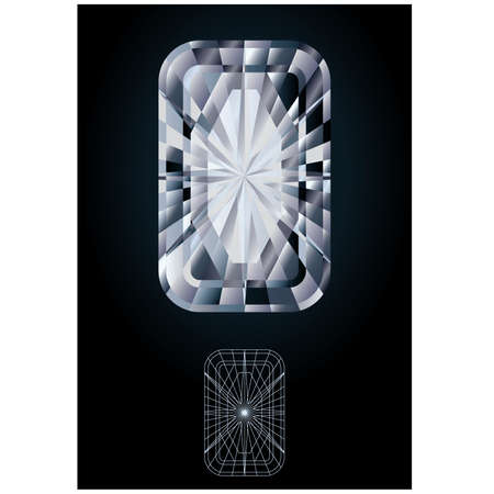 edelstenen: Diamant smaragd juweel, vector illustration