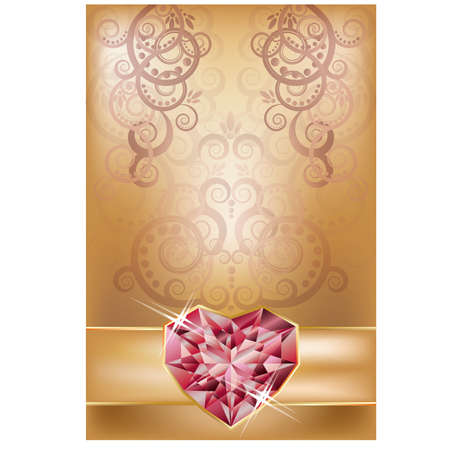 Tarjeta De Invitación De Boda Con El Corazón De Rubí Y El