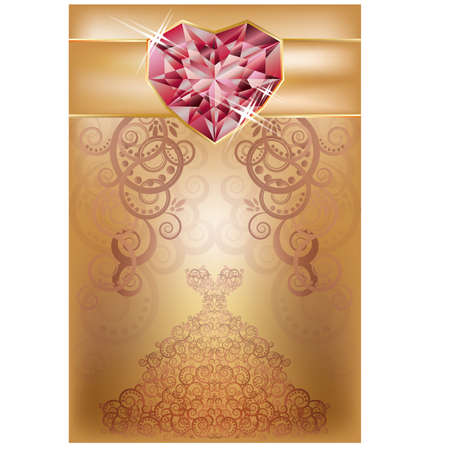 Wedding greeting card with ruby heart, vector illustration Vector