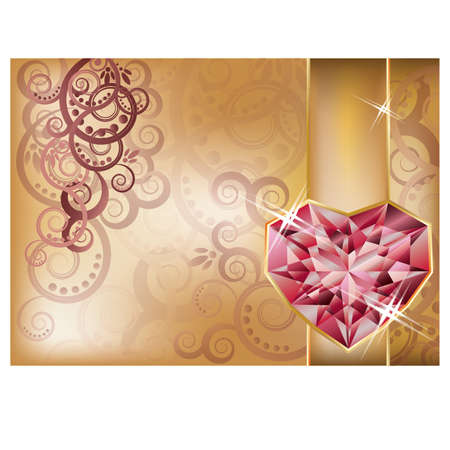 ruby stone: Wedding congratulation card with ruby heart, vector Illustration