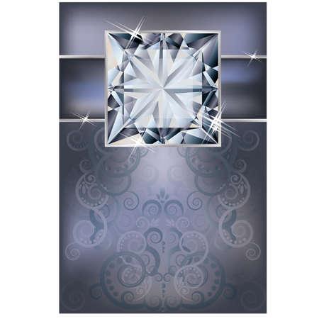 Congratulation invitation card with diamond illustration Stock Vector - 19754526