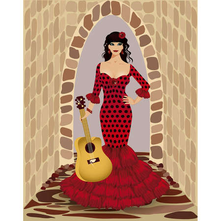 Beautiful flamenco girl with guitar Stock Vector - 19754527