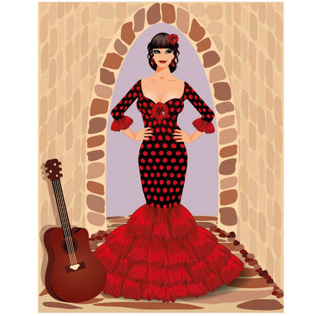 Spanish flamenco girl with guitar illustration Stock Vector - 19754528