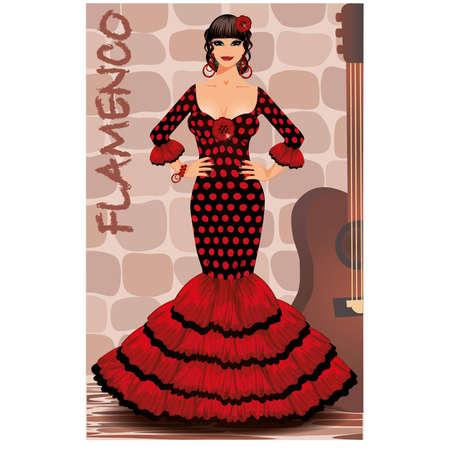 exotic dancer: Spanish flamenco girl postcard illustration