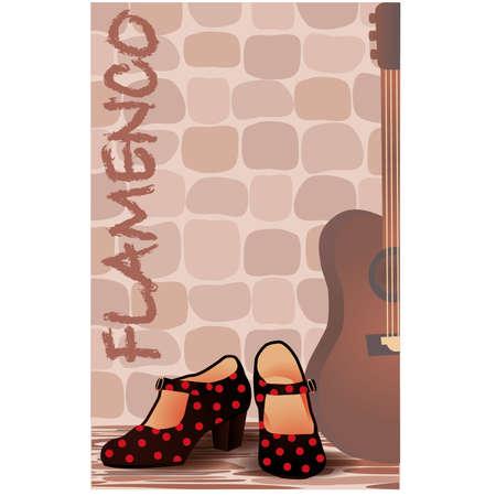 bailando flamenco: Español flamenco ilustración invitación tarjetas