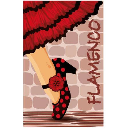 flamenco dancer: Espa�ol baile flamenco ejemplo de la tarjeta Vectores