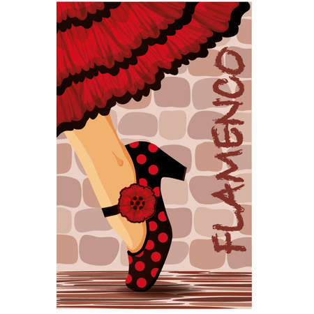 exotic dancer: Spanish flamenco dance card illustration