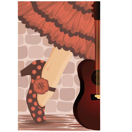 exotic dancer: Spanish flamenco party card illustration  Illustration