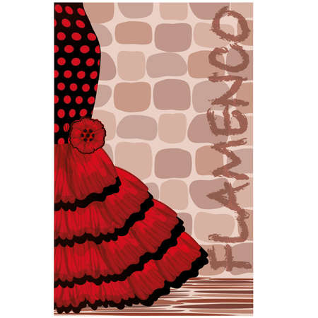 flamenco: Spanish flamenco holiday card illustration