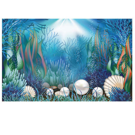 ostra: Fondo de pantalla bajo el agua con perlas ilustración Vectores