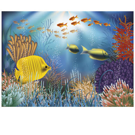 Underwater wallpaper with fishes illustration  Illustration