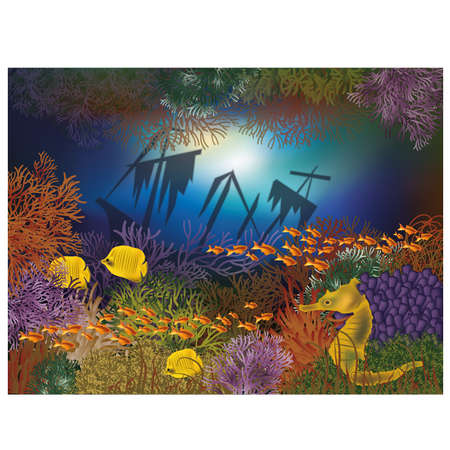 coral reef: Underwater wallpaper with ship and fishes
