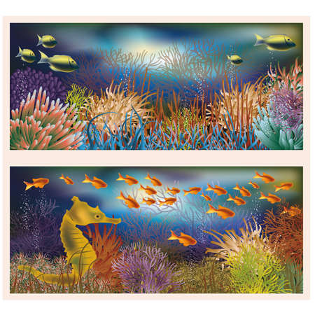 Underwater world banners Vector