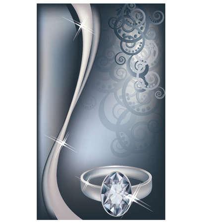 platina: Bruiloft uitnodigingskaart met platina ring en diamant