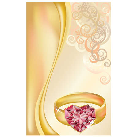 ring ruby: Wedding invitation card with golden ring and ruby heart