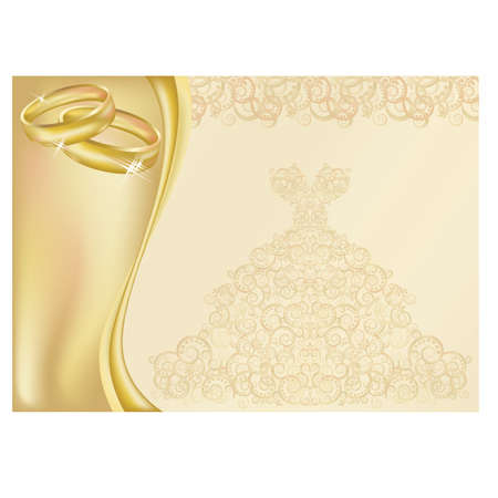 betrothal: Wedding invitation card with two golden rings Illustration