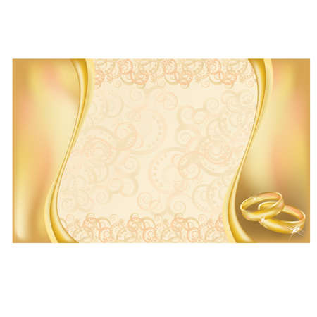 betrothal: Wedding invitation card with  golden rings and floral ornate Illustration