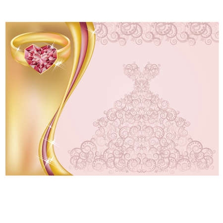 ruby stone: Wedding invitation card with bride dress and golden ring illustration