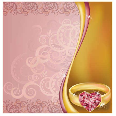 ring ruby: Wedding invitation card with ruby heart ring