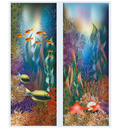 Underwater banners with starfish Vector