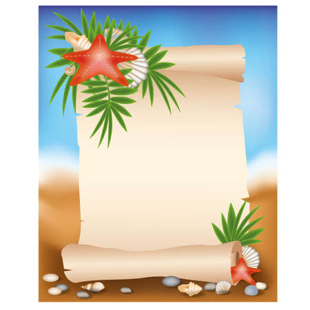 Blank paper scroll on summer background with starfish, illustration