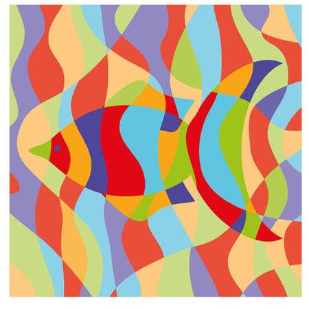 pez abstracto: Tarjeta abstracta de los pescados, la ilustraci�n