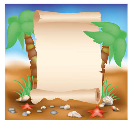 Blank paper scroll on summer card with palm tree, illustration Vector