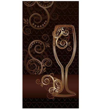 wineglasses: Wine glass with swirls invitation card, illustration Illustration