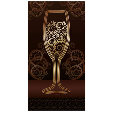 Golden wineglass with floral pattern Illustration