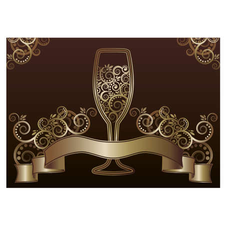 Wine glass greeting card illustration  Vector