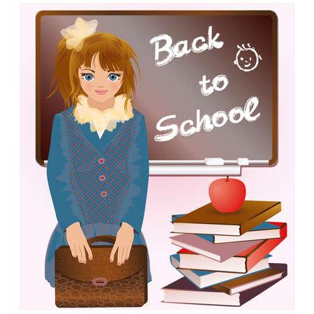 school bag: Bambina con il sacchetto di scuola e libri illustrazione