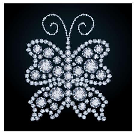 Elegant Diamond butterfly, vector illustration Stock Vector - 20773442