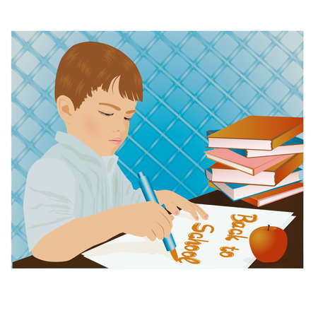 playroom: Young boy writing in a school notebook, vector illustration