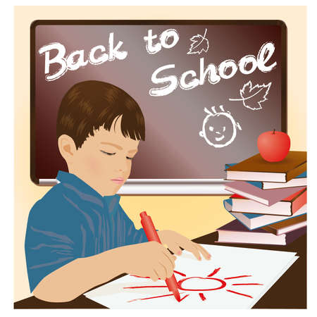 Schoolboy writing in a notebook, vector illustration Stock Vector - 20773447